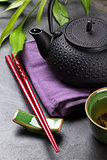 Asian tea bowl and teapot