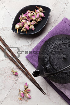 Asian rose tea and teapot