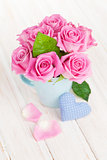Valentines day pink roses bouquet and handmaded toy heart