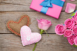 Valentines day card with gift box full of pink roses and handmad