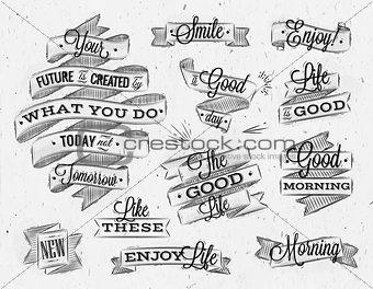 Ribbons vintage lettering