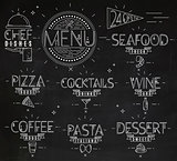 Menu in vintage modern style lines drawn chalk