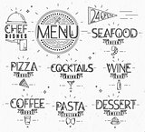 Menu in vintage modern style lines drawn