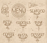 Menu in vintage modern style lines drawn kraft