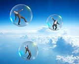 Set of businessmen in bubbles