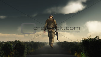 3D soldier walking with his head down