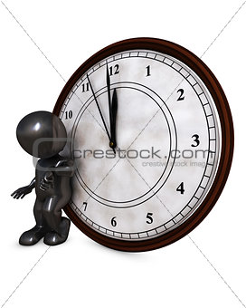 3D Morph Man with clock before midnight
