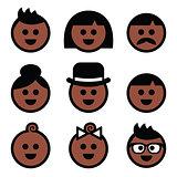 Human brown, dark skin color icons set