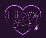 I love you. Heart shape of neon