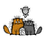 Fluffy cats family, sketch for your design