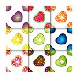 Fruit Hearts Seamless Pattern Set