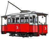 Vintage red tramway