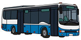 Blue and white city bus