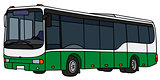 Green and white city bus