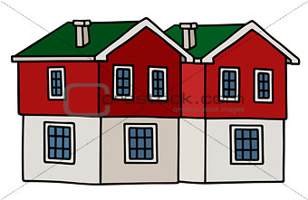 Old red and white houses