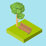 Isometric 3D icon. Pictograms bench on the grass and the tree. Vector illustration eps 10