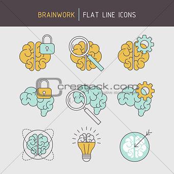 Flat line brainwork icons set