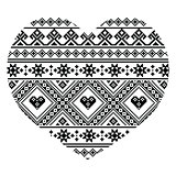 Traditional black Ukrainian or Belarusian folk art heart pattern - Valentine's Day