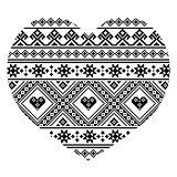 Traditional black Ukrainian or Belarusian folk art heart pattern - Valentine's Day