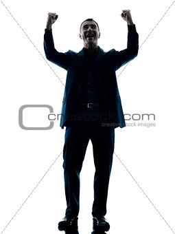 business man happy celebrating isolated