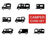 camper icon set