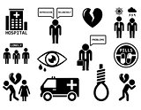 emotional disorders concept icon set