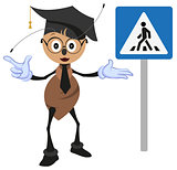 Ant teacher explains rules of road. Pedestrian crossing sign. How to cross street