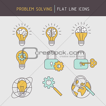 Flat line problem solving icons