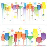 Abstract colorful illustration of wine drink glasses. Vector logo template. Concept for bar menu, alcohol