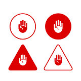 Set of stop hand icons