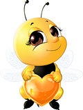 Bee holding a heart