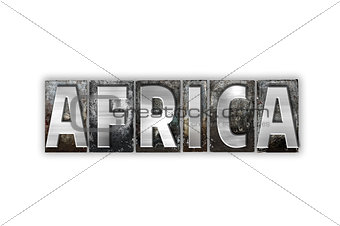 Africa Concept Isolated Metal Letterpress Type