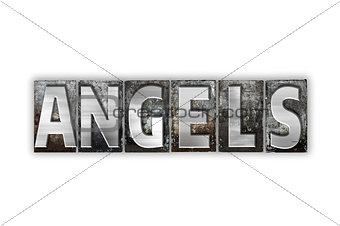 Angels Concept Isolated Metal Letterpress Type