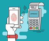 Mobile payment via smartphone using fingerprint identification