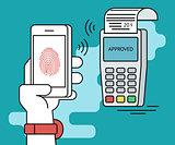Mobile payment via smartphone using fingerprint identification