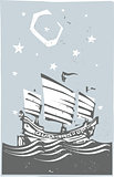 Woodcut Chinese Junk At night
