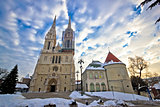 Zagreb cathedral winter daytime view