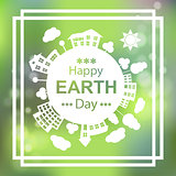 Happy Earth Day. Eco Green Vector Poster Design. 22 april.