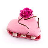 macaroon cake, heart shape, with raspberry for valentine day