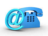 Telephone symbol and e-mail symbol