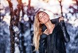 Gentle female in winter park