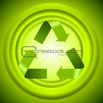 Green recycle logo sign with smooth circles