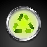 Metal button with green recycle logo sign