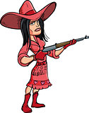 Cartoon cowgirl with a rifle