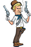 Cartoon cowboy character with two six guns