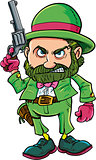 Cartoon Leprechaun cowboy with six gun