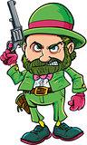 Cartoon Leprechaun cowboy with six gun
