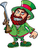 Cartoon Leprechaun cowboy with blunderbuss