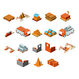 Construction project info graphic,detailed isometric vector illustration