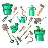 Gardening Tools Vector Illustration Set